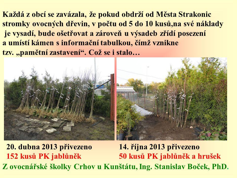 Každá z obcí se zavázala, že pokud obdrží od Města Strakonic stromky ovocných dřevin, v počtu od 5 do 10 kusů,na své náklady je vysadí, bude ošetřovat
