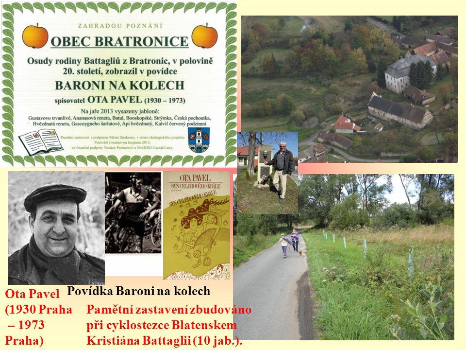 Ota Pavel (1930 Praha – 1973 Praha) Povídka Baroni na kolech Pamětní zastavení zbudováno při cyklostezce Blatenskem Kristiána Battaglii (10 jab.).