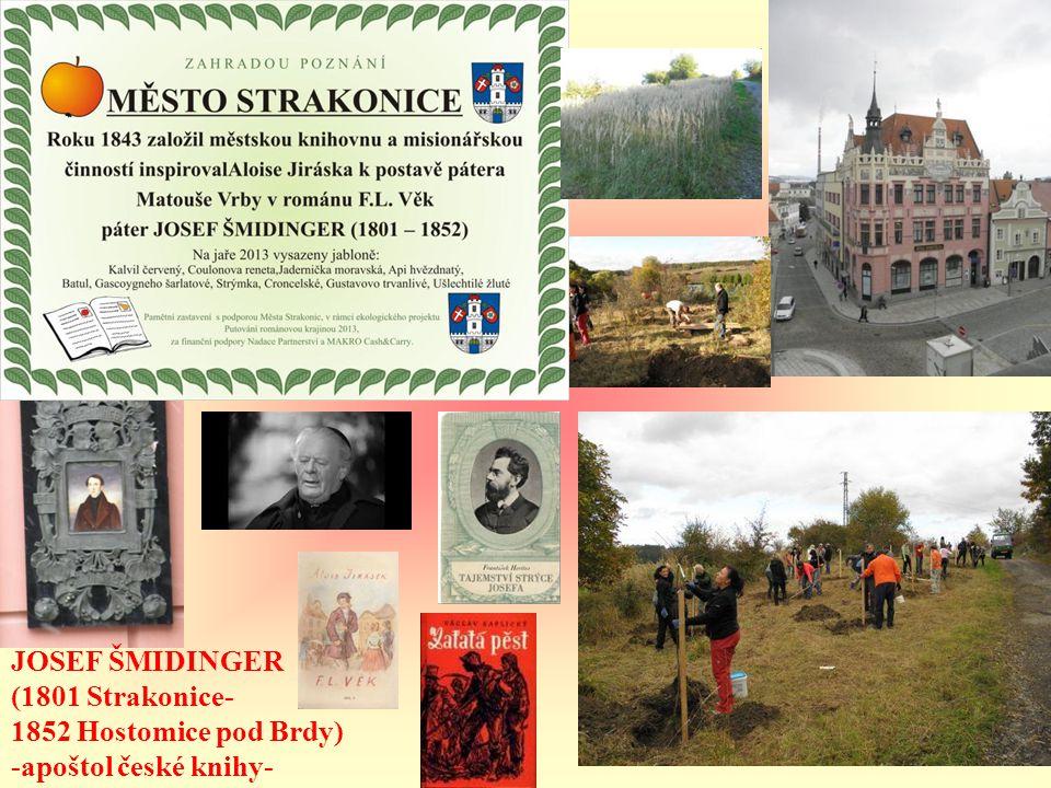JOSEF ŠMIDINGER (1801 Strakonice- 1852 Hostomice pod Brdy) -apoštol české knihy-
