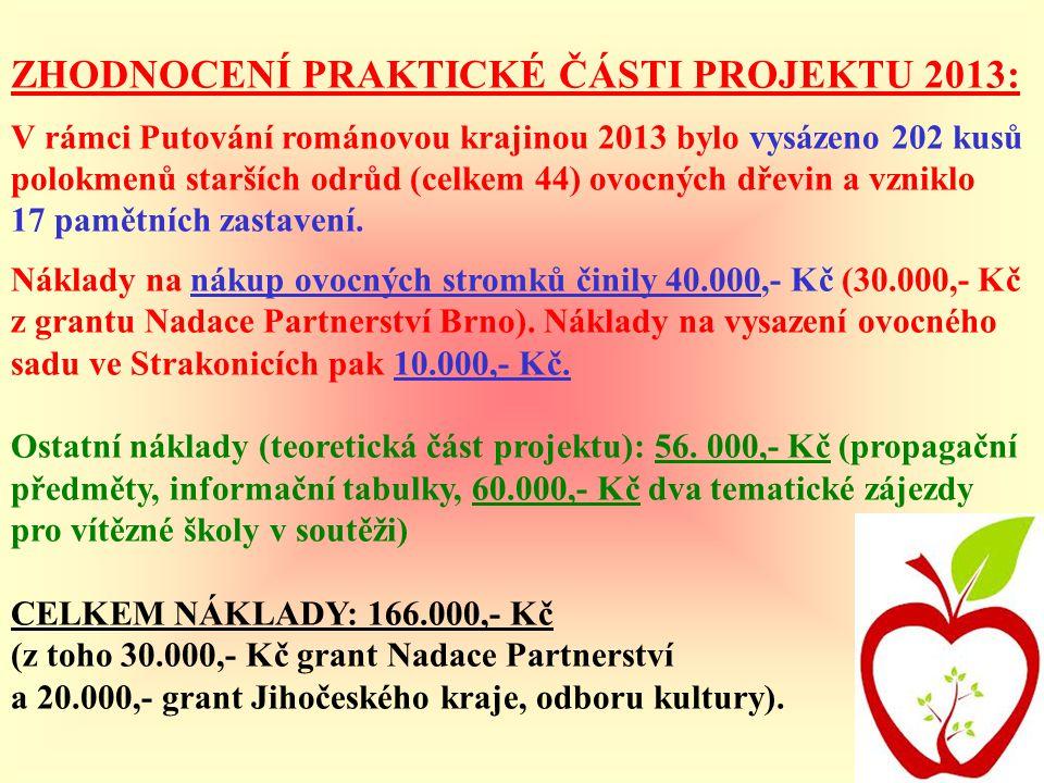 ZHODNOCENÍ PRAKTICKÉ ČÁSTI PROJEKTU 2013: V rámci Putování románovou krajinou 2013 bylo vysázeno 202 kusů polokmenů starších odrůd (celkem 44) ovocnýc
