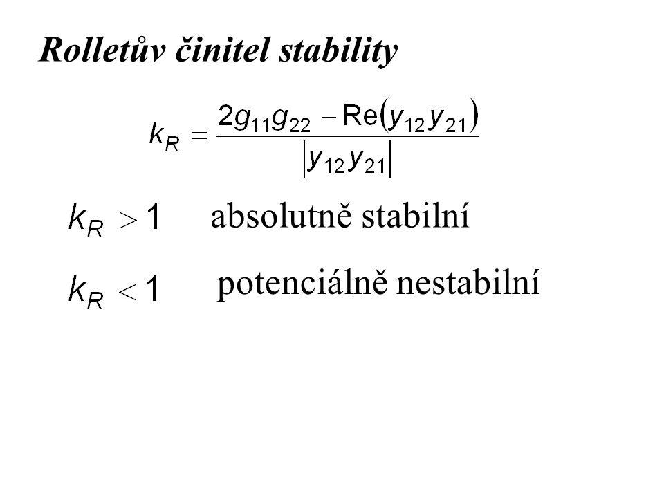 Rolletův činitel stability absolutně stabilní potenciálně nestabilní