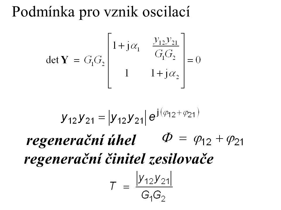 Podmínka pro vznik oscilací regenerační úhel regenerační činitel zesilovače