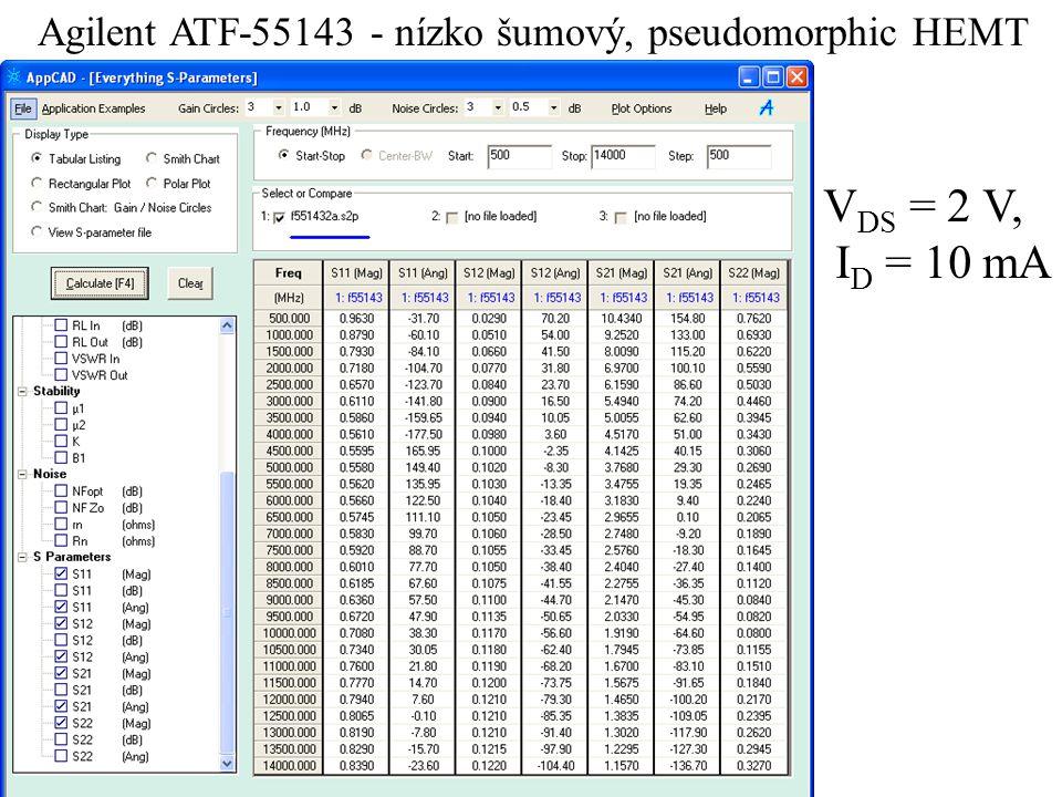 Agilent ATF-55143 - nízko šumový, pseudomorphic HEMT V DS = 2 V, I D = 10 mA
