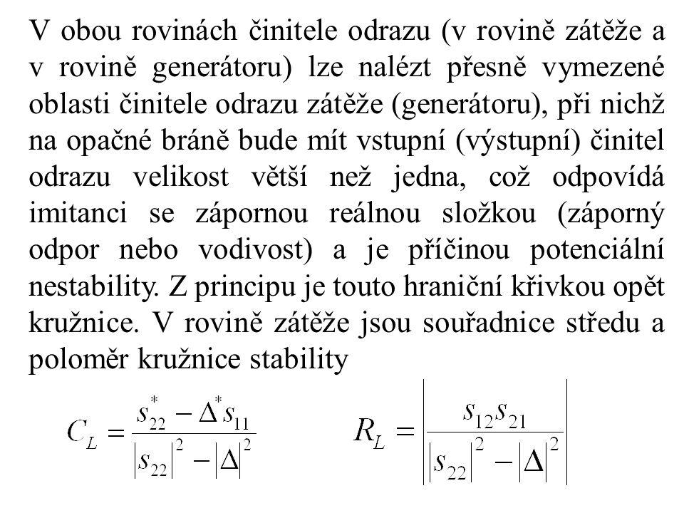 V obou rovinách činitele odrazu (v rovině zátěže a v rovině generátoru) lze nalézt přesně vymezené oblasti činitele odrazu zátěže (generátoru), při ni