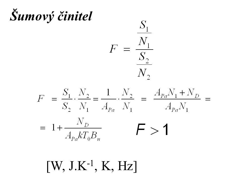 Šumový činitel [W, J.K -1, K, Hz]