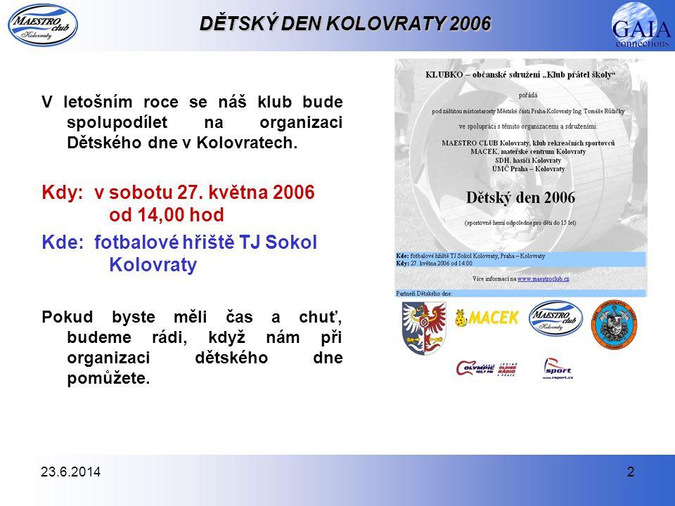23.6.20142 DĚTSKÝ DEN KOLOVRATY 2006 V letošním roce se náš klub bude spolupodílet na organizaci Dětského dne v Kolovratech.