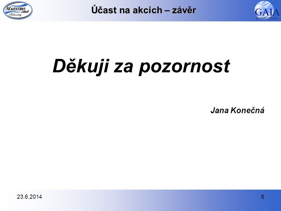 23.6.20146 Účast na akcích – závěr Děkuji za pozornost Jana Konečná