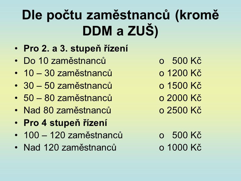 Dle počtu zaměstnanců (kromě DDM a ZUŠ) •Pro 2.a 3.
