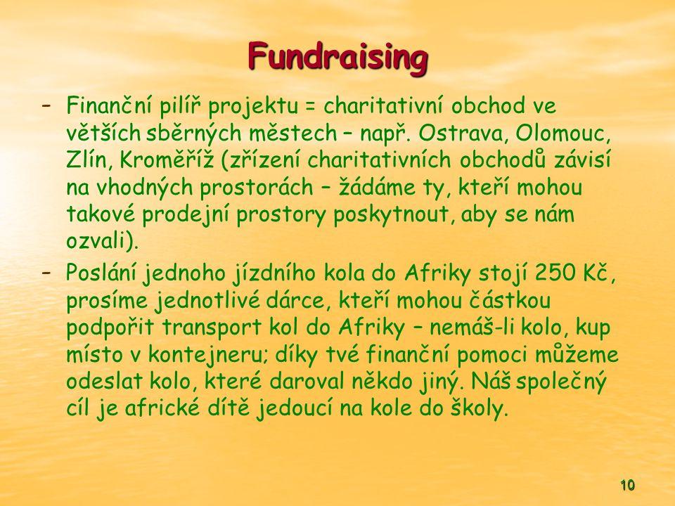 10 Fundraising - - Finanční pilíř projektu = charitativní obchod ve větších sběrných městech – např. Ostrava, Olomouc, Zlín, Kroměříž (zřízení charita