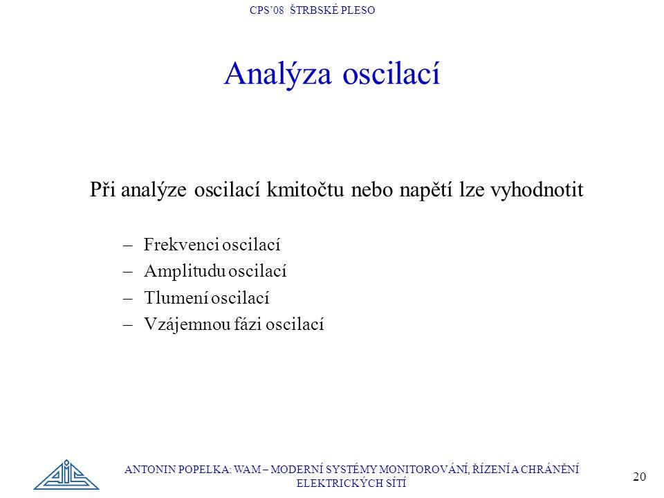CPS'08 ŠTRBSKÉ PLESO ANTONIN POPELKA: WAM – MODERNÍ SYSTÉMY MONITOROVÁNÍ, ŘÍZENÍ A CHRÁNĚNÍ ELEKTRICKÝCH SÍTÍ 20 Analýza oscilací Při analýze oscilací
