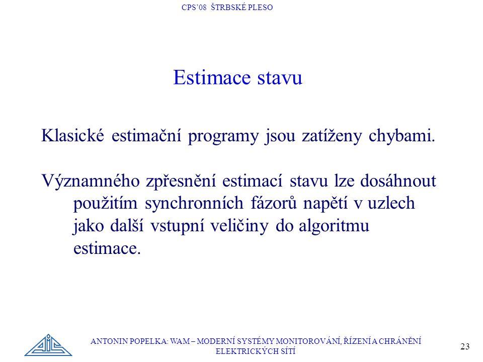 CPS'08 ŠTRBSKÉ PLESO ANTONIN POPELKA: WAM – MODERNÍ SYSTÉMY MONITOROVÁNÍ, ŘÍZENÍ A CHRÁNĚNÍ ELEKTRICKÝCH SÍTÍ 23 Estimace stavu Klasické estimační programy jsou zatíženy chybami.