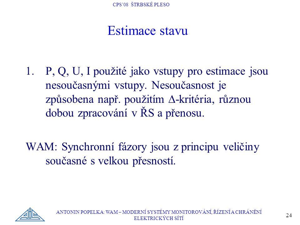 CPS'08 ŠTRBSKÉ PLESO ANTONIN POPELKA: WAM – MODERNÍ SYSTÉMY MONITOROVÁNÍ, ŘÍZENÍ A CHRÁNĚNÍ ELEKTRICKÝCH SÍTÍ 24 1.P, Q, U, I použité jako vstupy pro estimace jsou nesoučasnými vstupy.