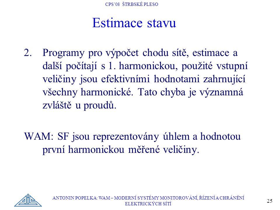 CPS'08 ŠTRBSKÉ PLESO ANTONIN POPELKA: WAM – MODERNÍ SYSTÉMY MONITOROVÁNÍ, ŘÍZENÍ A CHRÁNĚNÍ ELEKTRICKÝCH SÍTÍ 25 Estimace stavu 2.Programy pro výpočet chodu sítě, estimace a další počítají s 1.