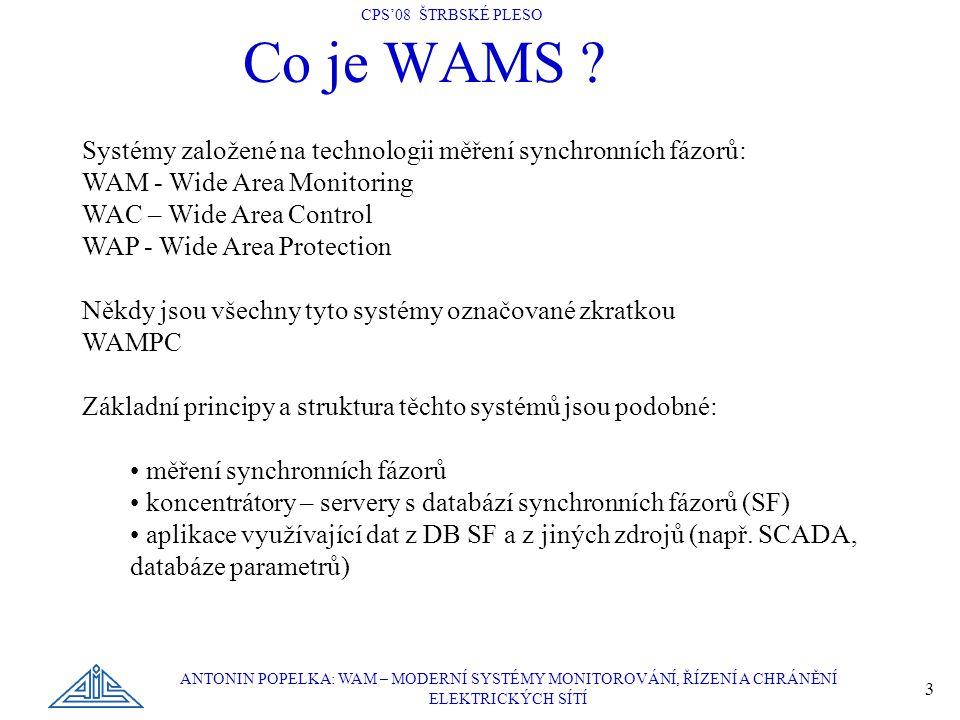 CPS'08 ŠTRBSKÉ PLESO ANTONIN POPELKA: WAM – MODERNÍ SYSTÉMY MONITOROVÁNÍ, ŘÍZENÍ A CHRÁNĚNÍ ELEKTRICKÝCH SÍTÍ 3 Co je WAMS ? Systémy založené na techn