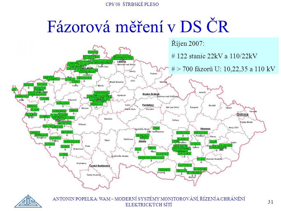 CPS'08 ŠTRBSKÉ PLESO ANTONIN POPELKA: WAM – MODERNÍ SYSTÉMY MONITOROVÁNÍ, ŘÍZENÍ A CHRÁNĚNÍ ELEKTRICKÝCH SÍTÍ 31 Fázorová měření v DS ČR Říjen 2007: # 122 stanic 22kV a 110/22kV # > 700 fázorů U: 10,22,35 a 110 kV