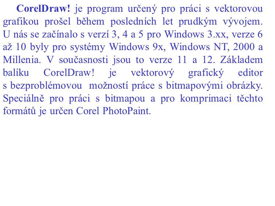 CorelDraw! je program určený pro práci s vektorovou grafikou prošel během posledních let prudkým vývojem. U nás se začínalo s verzí 3, 4 a 5 pro Windo