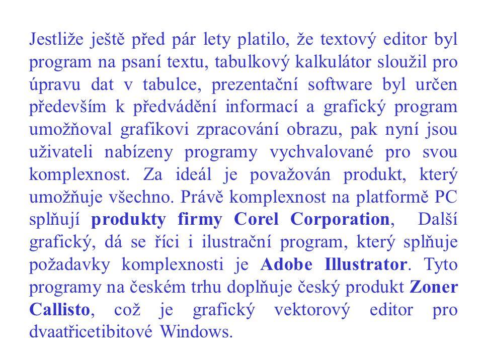 Jestliže ještě před pár lety platilo, že textový editor byl program na psaní textu, tabulkový kalkulátor sloužil pro úpravu dat v tabulce, prezentační