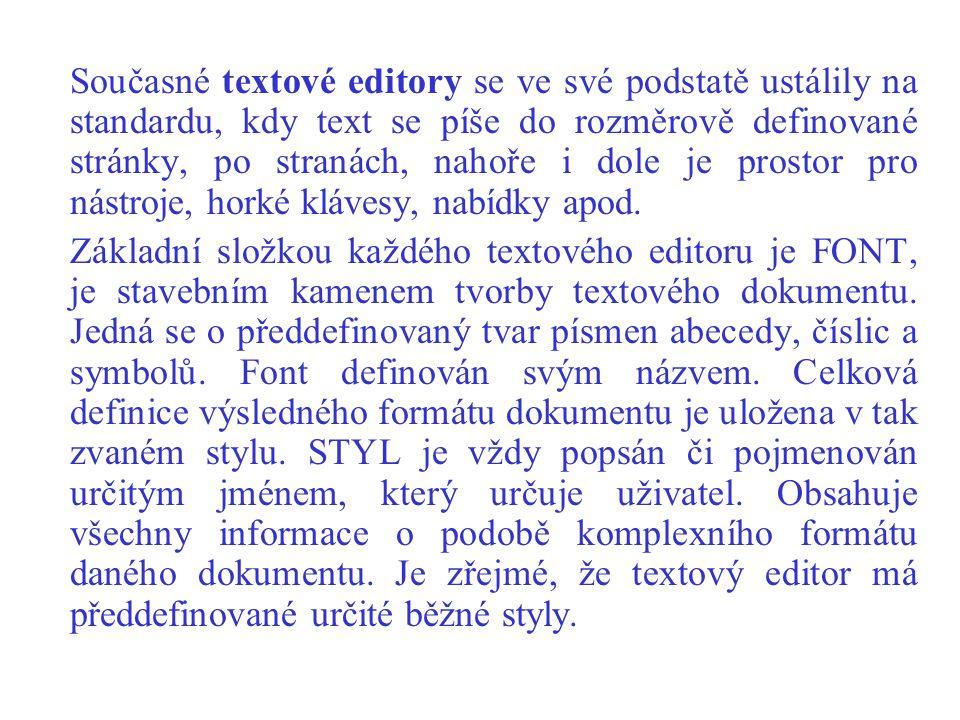 Současné textové editory se ve své podstatě ustálily na standardu, kdy text se píše do rozměrově definované stránky, po stranách, nahoře i dole je pro