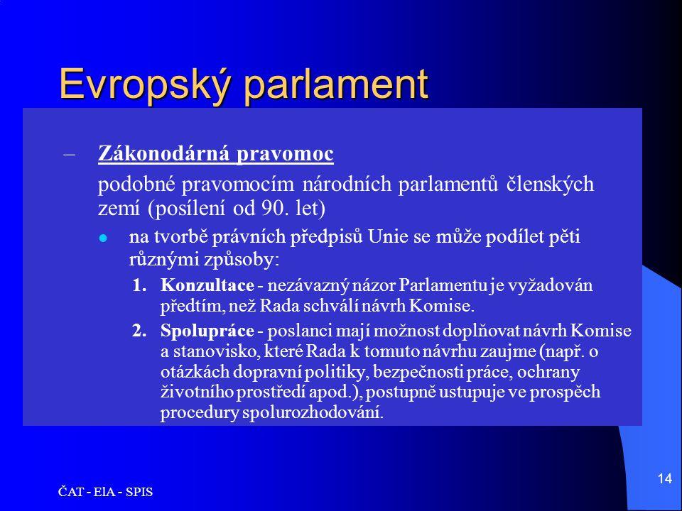 ČAT - ElA - SPIS 14 Evropský parlament –Zákonodárná pravomoc podobné pravomocím národních parlamentů členských zemí (posílení od 90. let)  na tvorbě