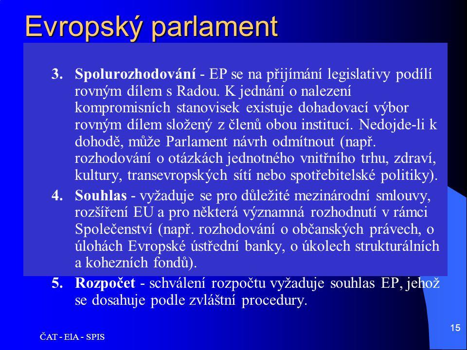 ČAT - ElA - SPIS 15 Evropský parlament 3.Spolurozhodování - EP se na přijímání legislativy podílí rovným dílem s Radou. K jednání o nalezení kompromis