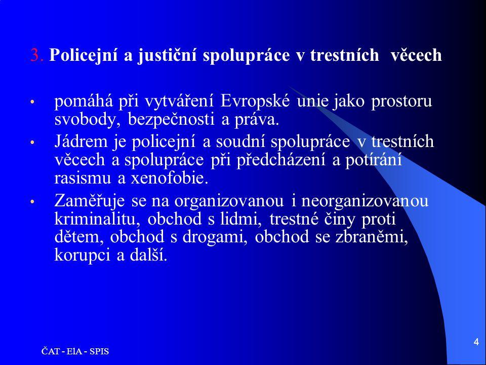 ČAT - ElA - SPIS 4 3. Policejní a justiční spolupráce v trestních věcech • pomáhá při vytváření Evropské unie jako prostoru svobody, bezpečnosti a prá
