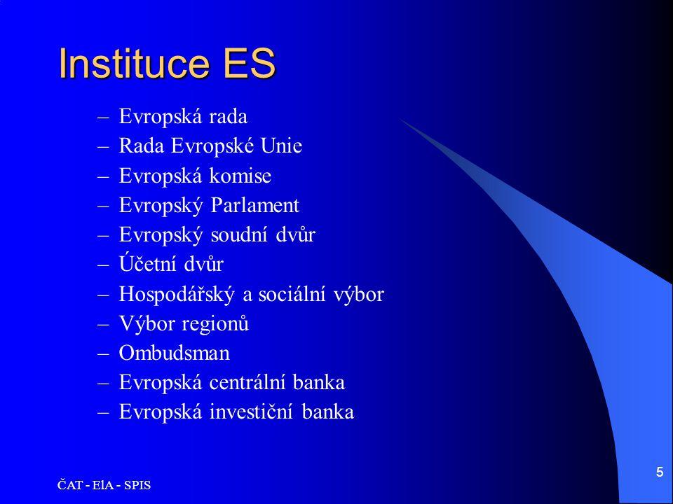 ČAT - ElA - SPIS 5 Instituce ES –Evropská rada –Rada Evropské Unie –Evropská komise –Evropský Parlament –Evropský soudní dvůr –Účetní dvůr –Hospodářsk
