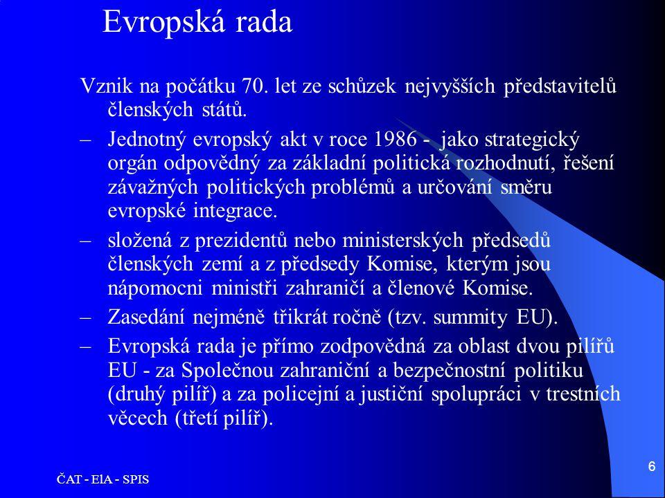 ČAT - ElA - SPIS 6 Evropská rada Vznik na počátku 70. let ze schůzek nejvyšších představitelů členských států. –Jednotný evropský akt v roce 1986 - ja