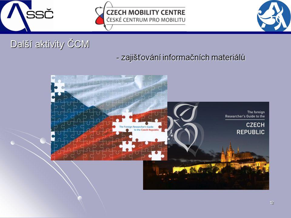 12 - zajišťování informačních materiálů Další aktivity ČCM
