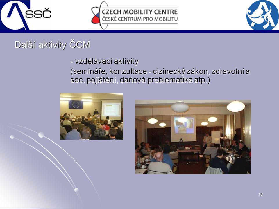 13 - vzdělávací aktivity (semináře, konzultace - cizinecký zákon, zdravotní a soc. pojištění, daňová problematika atp.) Další aktivity ČCM