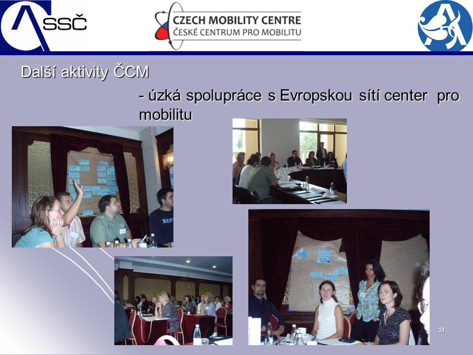14 - úzká spolupráce s Evropskou sítí center pro mobilitu Další aktivity ČCM
