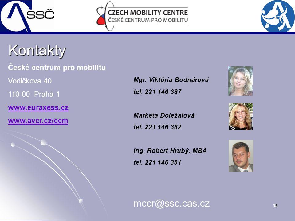 15 Kontakty České centrum pro mobilitu Vodičkova 40 110 00 Praha 1 www.euraxess.cz www.avcr.cz/ccm Mgr. Viktória Bodnárová tel. 221 146 387 Markéta Do