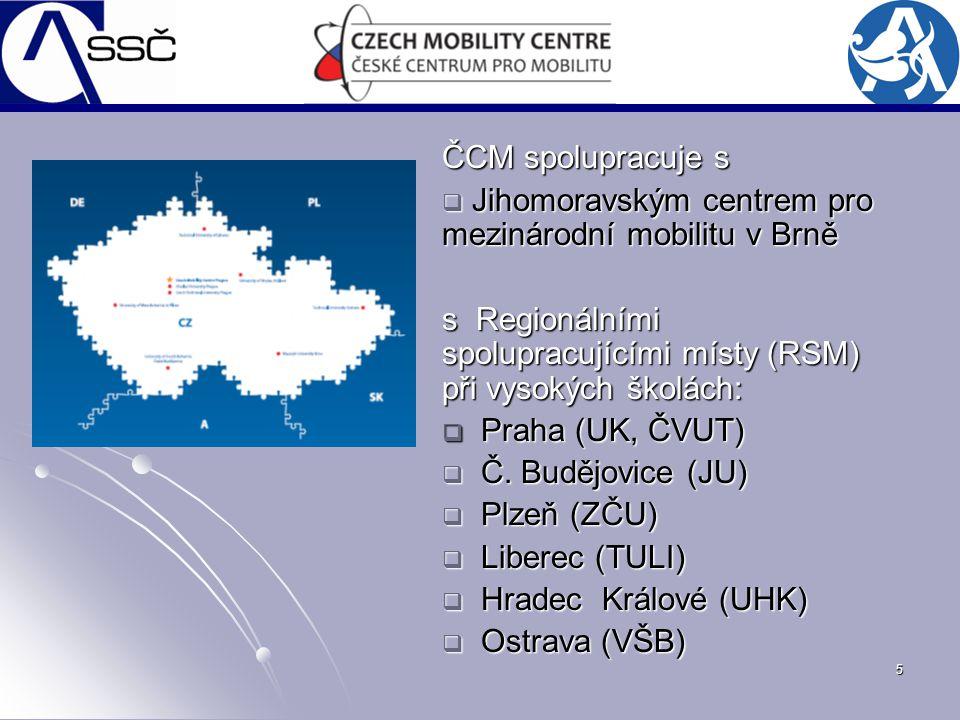 5 ČCM spolupracuje s  Jihomoravským centrem pro mezinárodní mobilitu v Brně s Regionálními spolupracujícími místy (RSM) při vysokých školách:  Praha