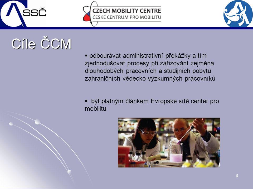 6 Cíle ČCM  odbourávat administrativní překážky a tím zjednodušovat procesy při zařizování zejména dlouhodobých pracovních a studijních pobytů zahran