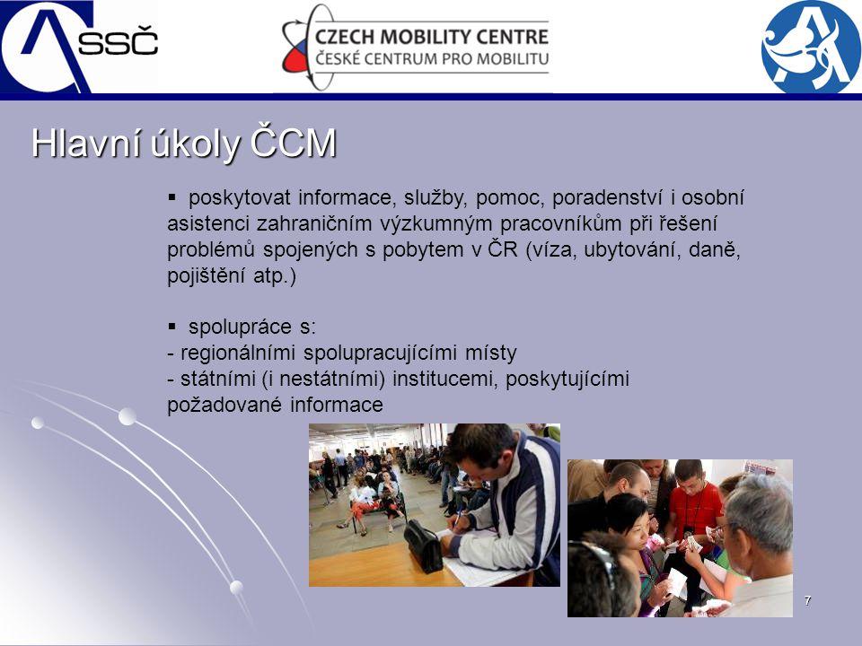 7 Hlavní úkoly ČCM  poskytovat informace, služby, pomoc, poradenství i osobní asistenci zahraničním výzkumným pracovníkům při řešení problémů spojený