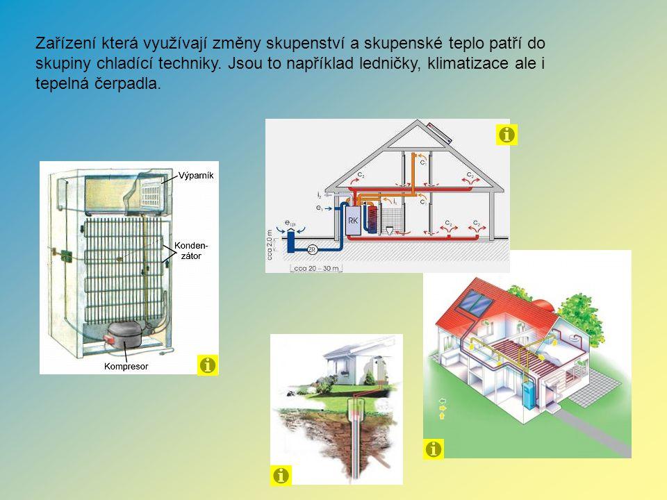 Zařízení která využívají změny skupenství a skupenské teplo patří do skupiny chladící techniky. Jsou to například ledničky, klimatizace ale i tepelná