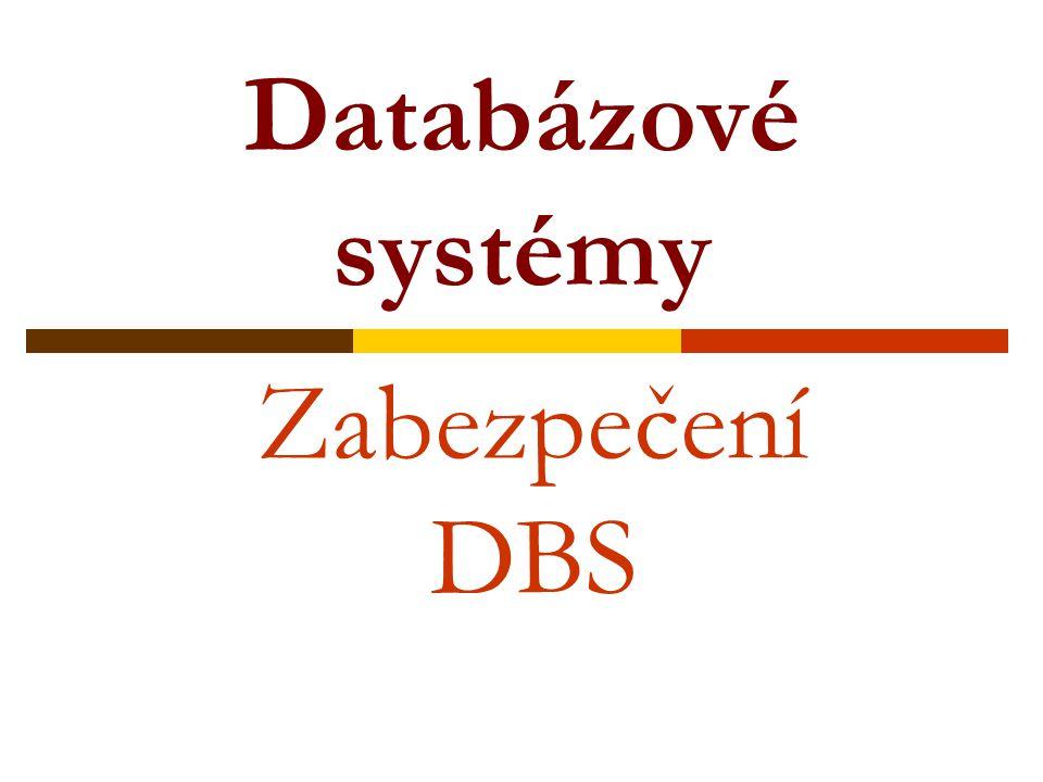 Databázové systémy Zabezpečení DBS