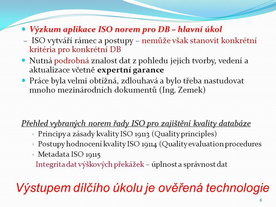 Výstupem dílčího úkolu je ověřená technologie  Výzkum aplikace ISO norem pro DB – hlavní úkol – ISO vytváří rámec a postupy – nemůže však stanovit ko
