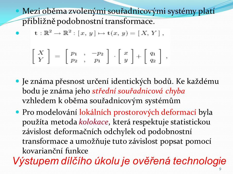 Výstupem dílčího úkolu je ověřená technologie  Mezi oběma zvolenými souřadnicovými systémy platí přibližně podobnostní transformace.   Je známa pře