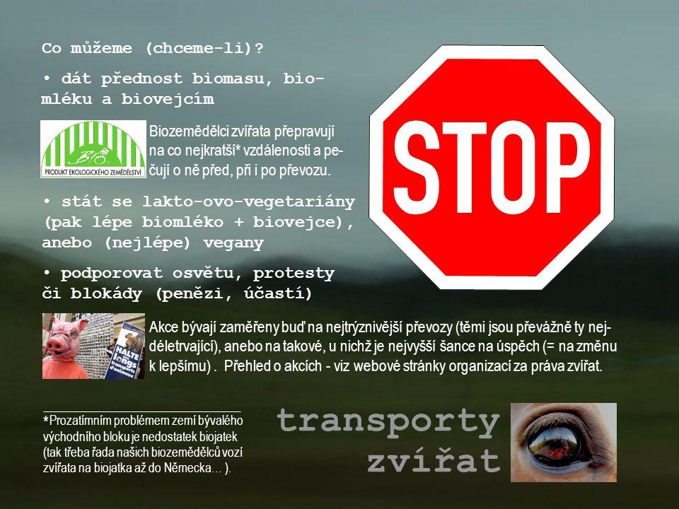 transporty zvířat Biozemědělci zvířata přepravují na co nejkratší* vzdálenosti a pe- čují o ně před, při i po převozu. Co můžeme (chceme-li)? • dát př