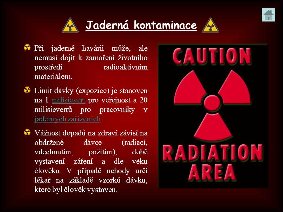 Jaderná kontaminace Při jaderné havárii může, ale nemusí dojít k zamoření životního prostředí radioaktivním materiálem. Limit dávky (expozice) je stan