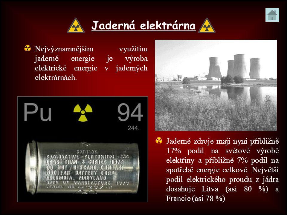 Jaderná elektrárna Nejvýznamnějším využitím jaderné energie je výroba elektrické energie v jaderných elektrárnách. Jaderné zdroje mají nyní přibližně