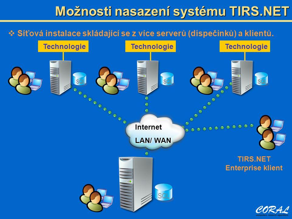 Možnosti nasazení systému TIRS.NET  Síťová instalace skládající se z více serverů (dispečinků) a klientů.