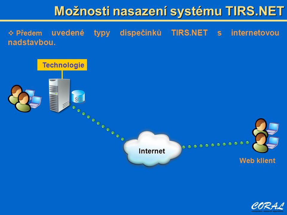 Možnosti nasazení systému TIRS.NET  Předem uvedené typy dispečinků TIRS.NET s internetovou nadstavbou.