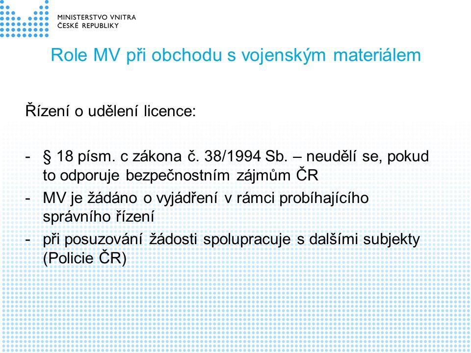 Role MV při obchodu s vojenským materiálem Řízení o udělení licence: -§ 18 písm. c zákona č. 38/1994 Sb. – neudělí se, pokud to odporuje bezpečnostním
