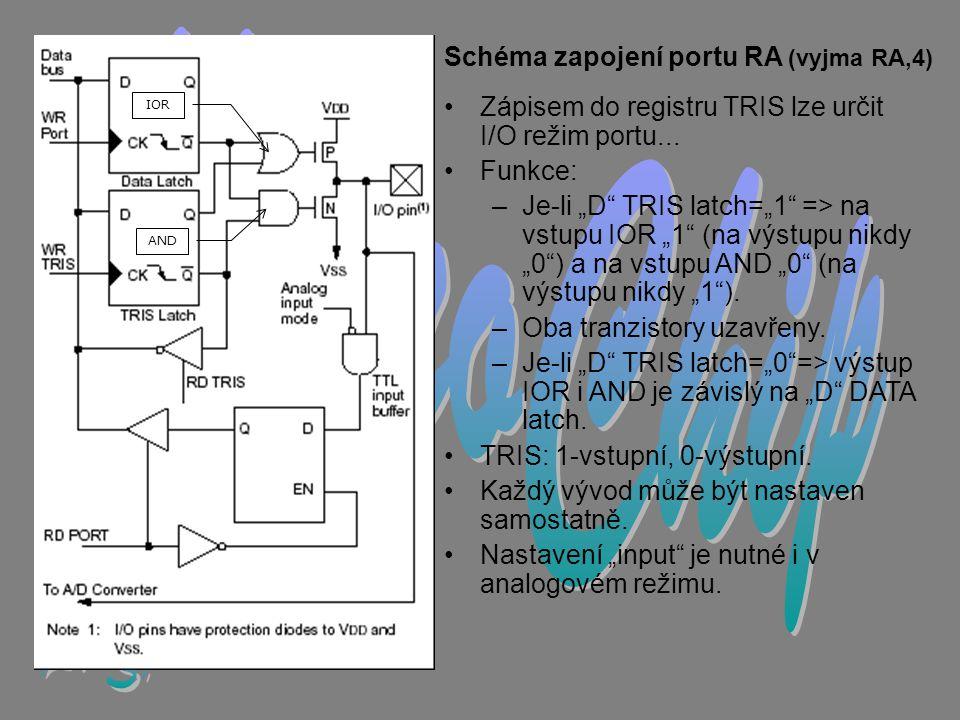 Schéma zapojení portu RA (vyjma RA,4) •Zápisem do registru TRIS lze určit I/O režim portu...