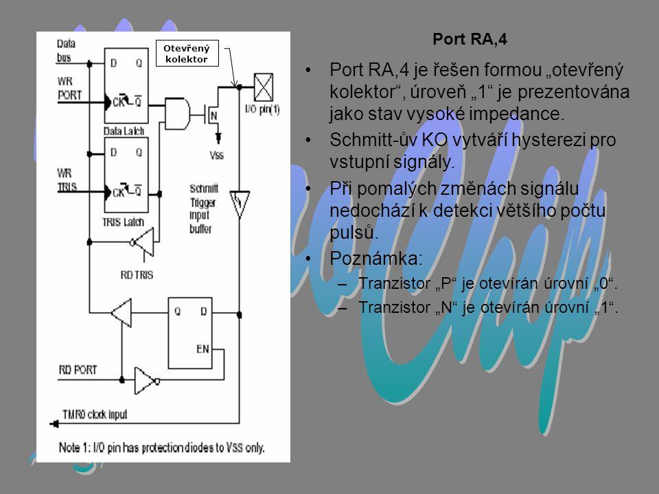 """Port RA,4 •Port RA,4 je řešen formou """"otevřený kolektor , úroveň """"1 je prezentována jako stav vysoké impedance."""