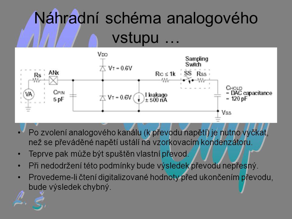 Náhradní schéma analogového vstupu … •P•Po zvolení analogového kanálu (k převodu napětí) je nutno vyčkat, než se převáděné napětí ustálí na vzorkovacím kondenzátoru.