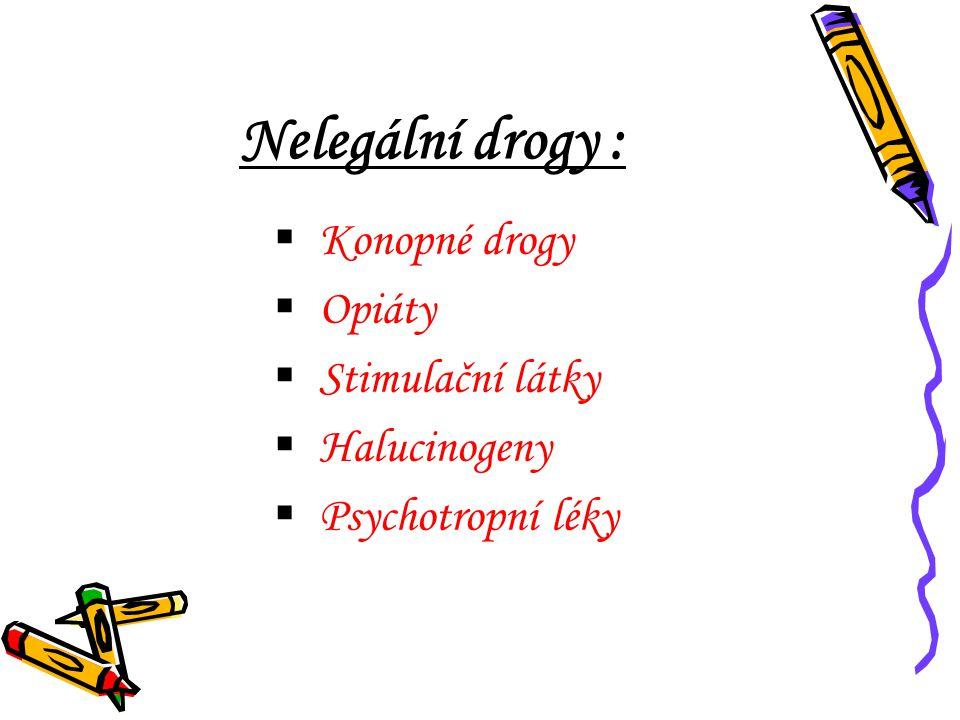 Nelegální drogy :  Konopné drogy  Opiáty  Stimulační látky  Halucinogeny  Psychotropní léky