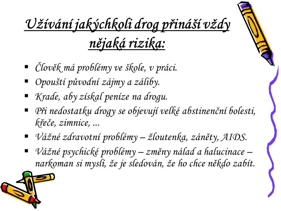 Užívání jakýchkoli drog přináší vždy nějaká rizika:  Člověk má problémy ve škole, v práci.