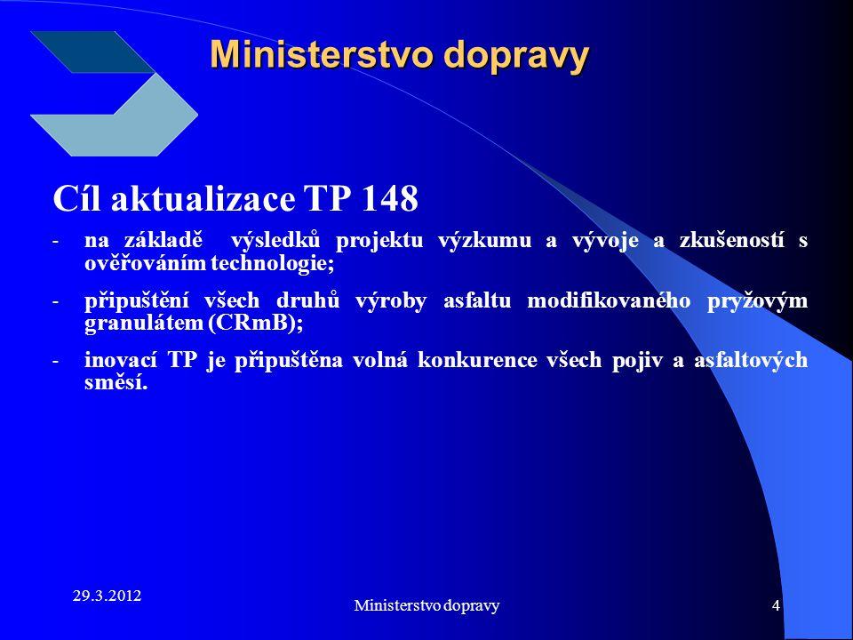 29.3.2012 Ministerstvo dopravy4 Cíl aktualizace TP 148 - na základě výsledků projektu výzkumu a vývoje a zkušeností s ověřováním technologie; - připuš